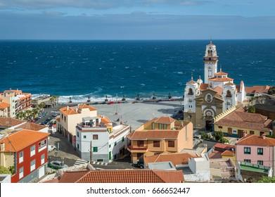 Historical attraction - Basilica Mariano de Nuestra Senora de la Candelaria and Guanche statues of Plaza de la Patrona, Tenerife island, Spain