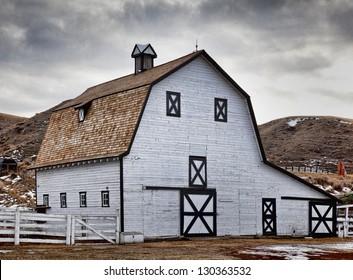 A historical barn in Echodale Park, near Medicine Hat, Alberta, Canada.
