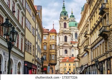 Historical baroque buildings in the center of Prague, Czech Republic