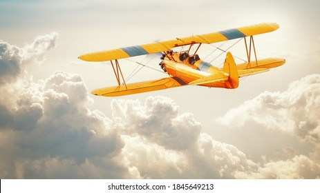 historical biplane into the clouds
