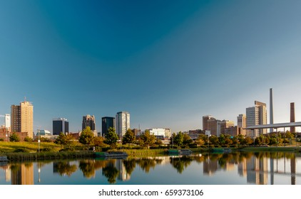 The historical Birmingham, Alabama Skyline Morning Daytime . View from railroad park. Sharp colors and very vibrant perspective.
