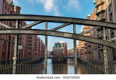 HIstorical bridge in the Speicherstadt quarter in Hamburg, Germany