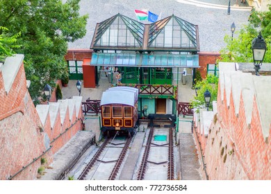 Historical Buda Castle funicular in Budapest, Hungary.