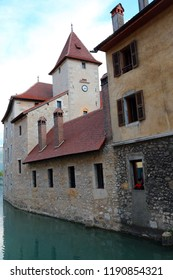historical building in Annecy City in France and the Thiou River