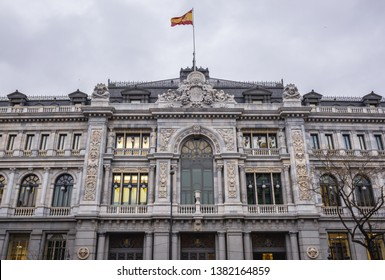 Historical building of Banco de Espana - Bank of Spain seen from Cybele Square in Madrid, capital city of Spain