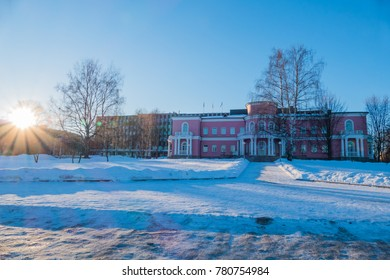 Historical building at the bank of lake Onego in Petrozavodsk, Northern Russia