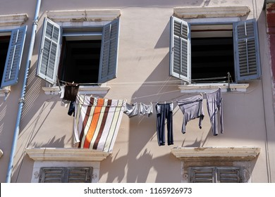 Historical building and clothesline in the old town of Rovinj in Croatia