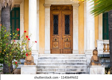 Historical building with columns on Spetses island, Greece