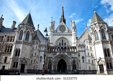 Historical building and entrance of Royal Courts of Justice in London England