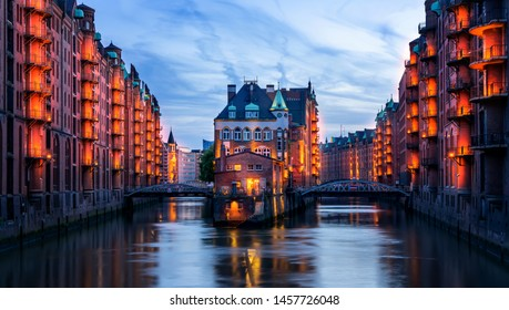 a historical building in Hamburg in the evening
