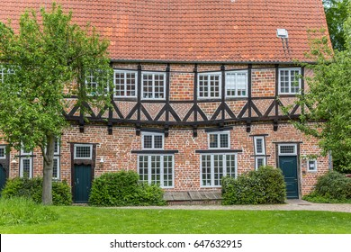 Historical building Jugendbucherei in the center of Luneburg, Germany