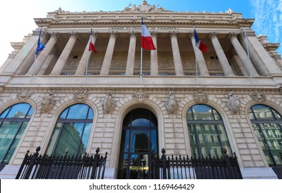 The historical building of Marseille Stock Exchange -Bourse palace and Chamber of Commerce, 1860 , Marseille, , Provence-Alpes-Cote d'Azur region, France.