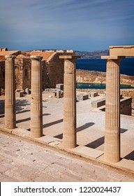 Historical building remains in Lindos. Rhodes, Greece.