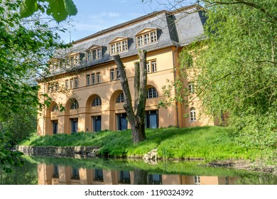 Historical building in Weimar on the river Ilm