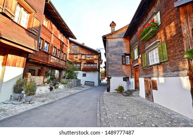 Historical buildings in aldstadt (old town) of the medieval township of Buchs in St. Gallen, Switzerland