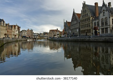 Historical buildings of the beautiful Belgian town Ghent reflecting in water