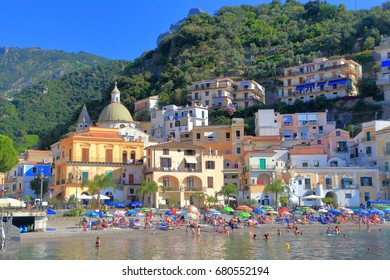Historical buildings of Cetara on Amalfi coast, Italy