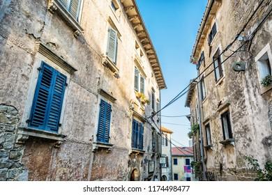 Historical buildings in Groznjan, Istria, Croatia. Architectural scene. Travel destination.