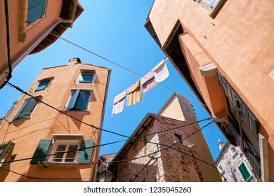 historical buildings in the old town of Rovinj in Croatia