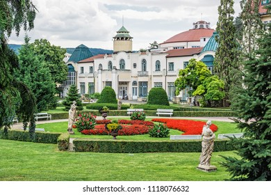 Historical buildings in Piestany spa, Slovak republic. Architectural theme. Travel destination. Health resort.