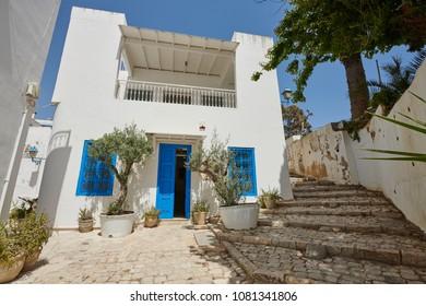 Historical buildings in Sidi Bou Said, Tunis City, Tunisia, Africa