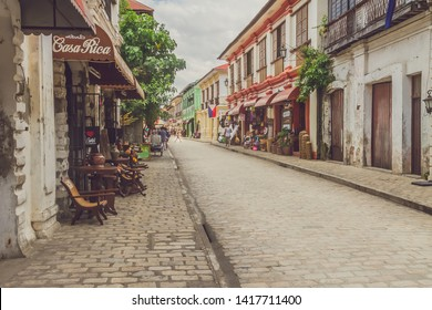 The Historical Calle Crisologo of Vigan City, Ilocos Sur, Philippines - June 10, 2017: How it looks today after the Spanish Colonization.