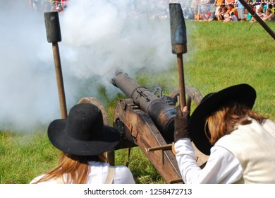Historical cannon in action. Volunteers recreates historical fight. Vavrisovo, kuruc fights,18th century. Slovakia, Liptov. One of the last fights of the class uprising of František II. Rákoci, 1709.