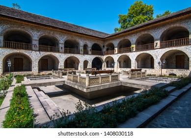 historical caravanserai courtyard in sunny weather in Shaki Azerbaijan