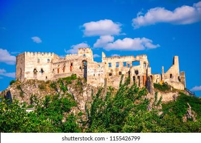 Historical castle Beckov on high rocks. Trencin, Slovakia.
