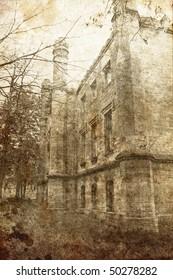 historical castle near Odessa in village Petrovka (Ukraine) Photo in old image style.