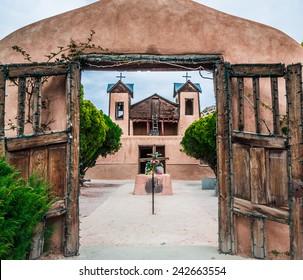The historical catholic chapel of Santuario de Nuestro Senor de Esquipulas, in Chimayo, New Mexico, was built In 1816