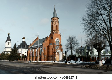 Historical catholic church on the town square