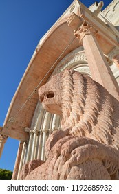 Historical center of Ancona, city of central Italy, ancient stone lion