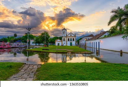 Historical center of Paraty at sunset, Rio de Janeiro, Brazil. Paraty is a preserved Portuguese colonial and Brazilian Imperial municipality