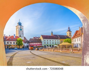 Historical center of Sibiu town at sunset time, Transylvania, Romania.