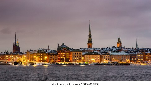 The historical center of Stockholm at dusk on an overcast evening