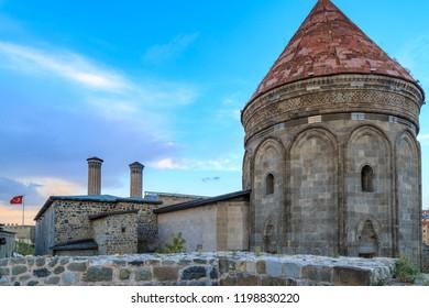 Historical cifte minareli medresesi (medieval school) from back side in Erzurum, Turkey