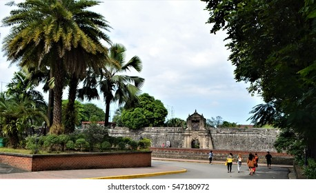 The historical citadel of Fort Santiago located in the old walled city of Manila, The Intramuros, Philippines