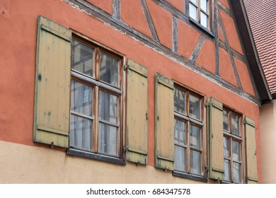 in a historical city of bavaria in south germany at summertime old wooden timber frame buildings with windows, doors and decorations are a romantic place to have holiday of even relaxing time