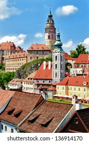 Historical city center of Czech Krumlov in Czech republic