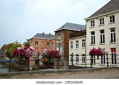 The historical city center in Mechelen, Flanders, Belgium