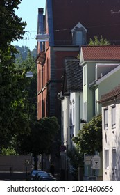 historical city schwaebisch gmuend facades buildings details ornaments and roof in south germany sunny summer day