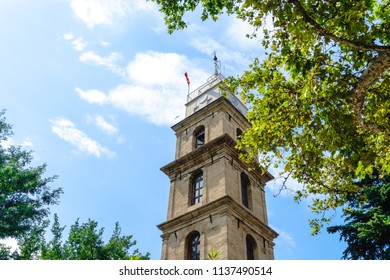 Historical clock tower in Bursa which have Osman and Orhan Gazi tombs in Tophane.