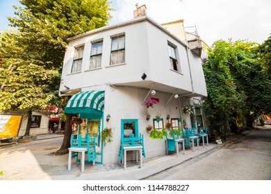 Historical colorful houses and cafe in KUZGUNCUK. Kuzguncuk is a neighborhood in the Uskudar district in Istanbul, Turkey.