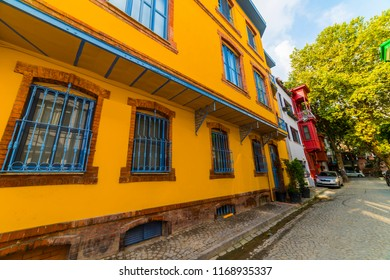 Historical colorful houses in KUZGUNCUK. Kuzguncuk is a neighborhood in the Uskudar district in Istanbul, Turkey.