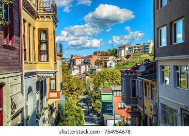 Historical colorful residential buildings from the hilltop of Kuzguncuk district, Istanbul, Turkey
