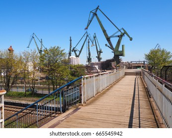 Historical cranes in the shipyard in Gdansk - Poland