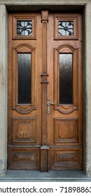 Historical Decorative Wooden Door with Glass Panes in Stone Entry, Prague