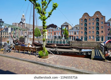 Historical 'Delfshaven' is the oldest part of Rotterdam and not damaged in WWII. Where the famous Pilgrim Fathers stayed in the Saint Anthony Chapel and left for America in 1620. The Netherlands.