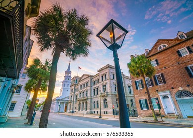 Historical downtown area of  Charleston, South Carolina, USA at twilight.